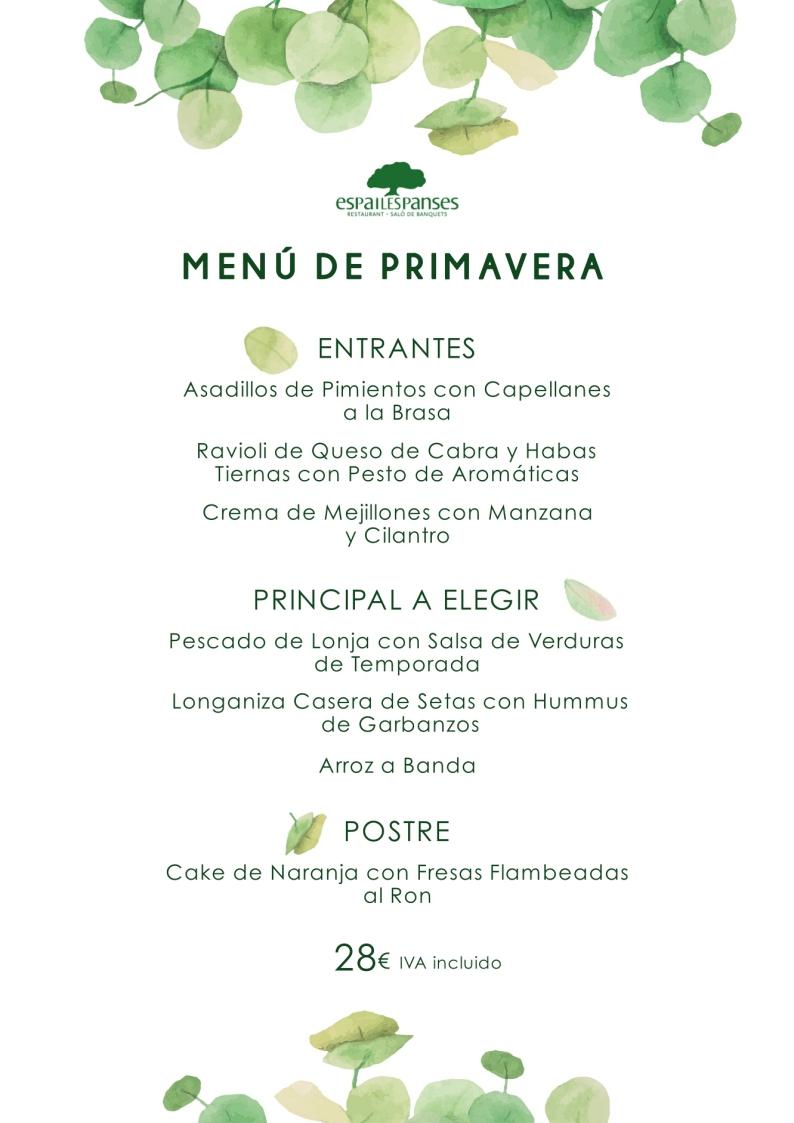Menú Primavera Espai Les Panses Restaurante Albalat